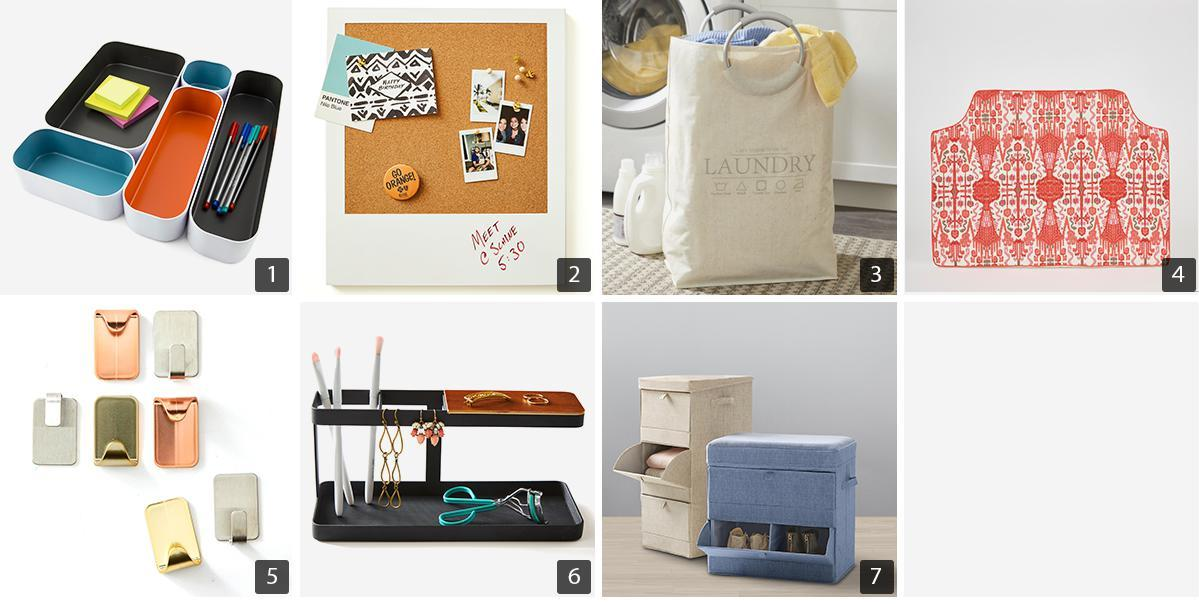 Collage of storage products including stackable desk organizers, cork message board, and canvas laundry bag photo