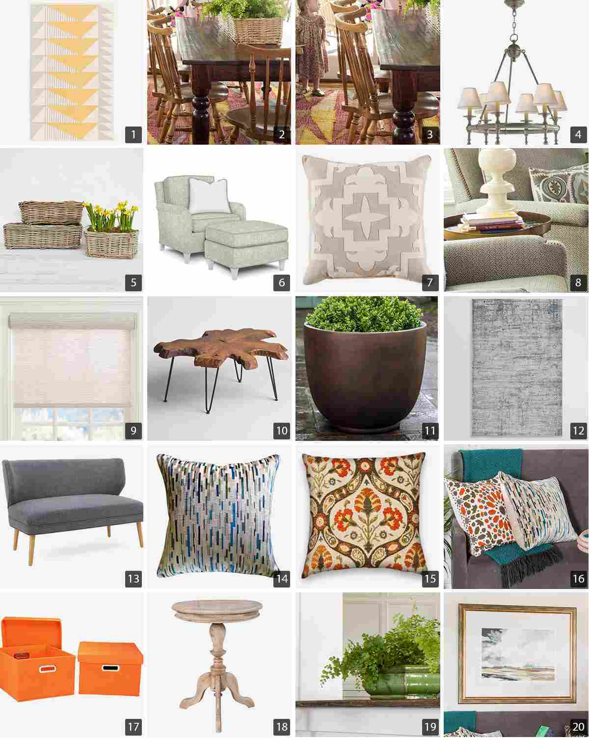 Collage of home products including a dining table, throw pillows, and seating furniture photo