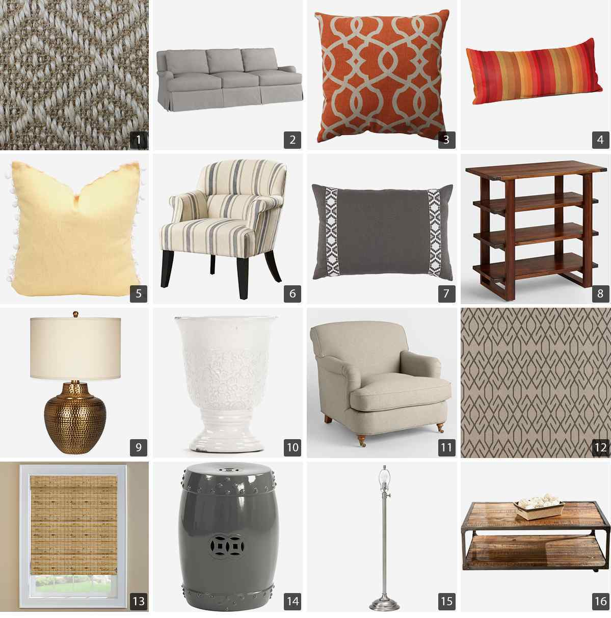 Collage of home products including gray sofa, orange and yellow throw pillows, and wood tables photo