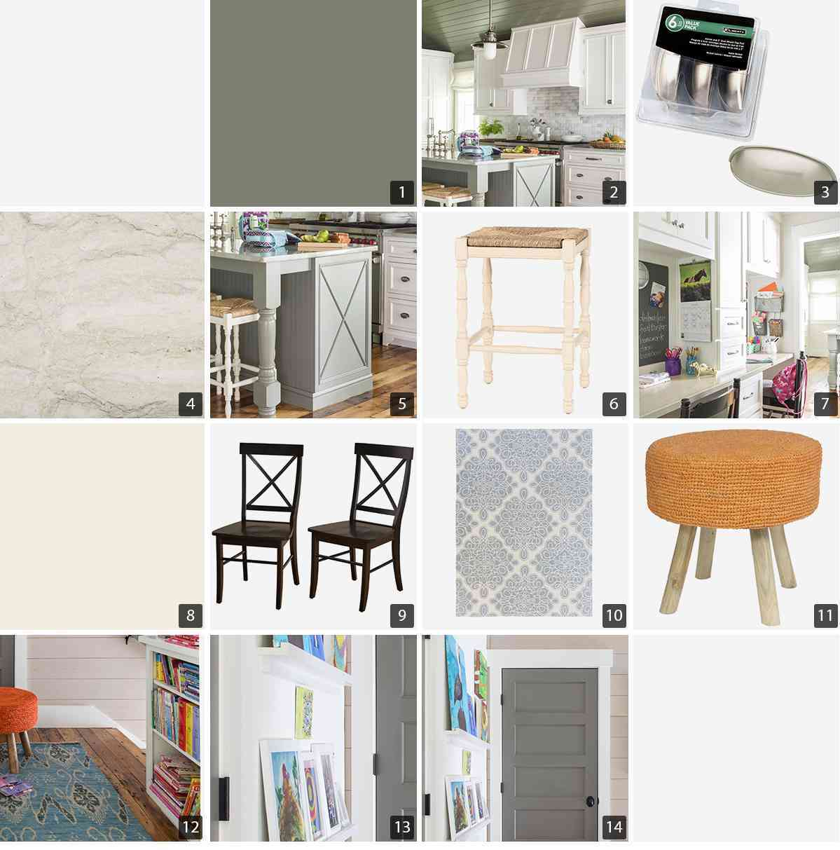 Collage of home products including kitchen cabinets, stools, and rugs photo