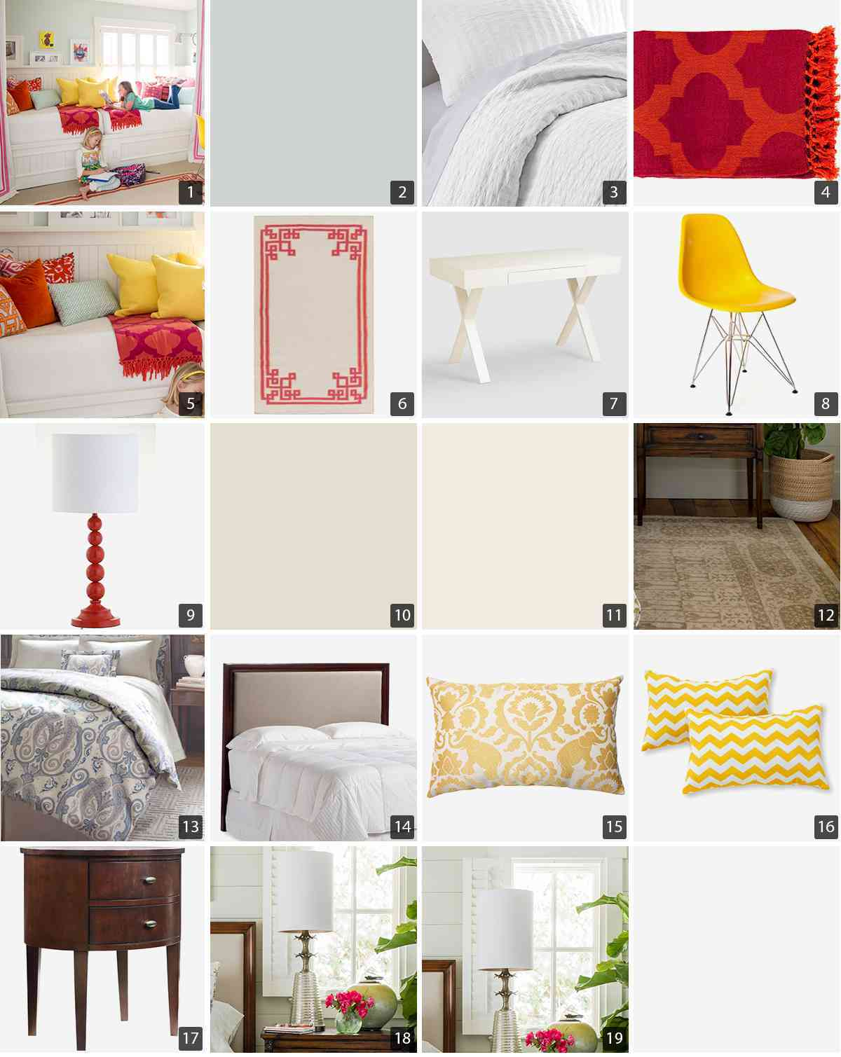 Collage of home products including duvet covers, throw pillows, and accent furniture photo