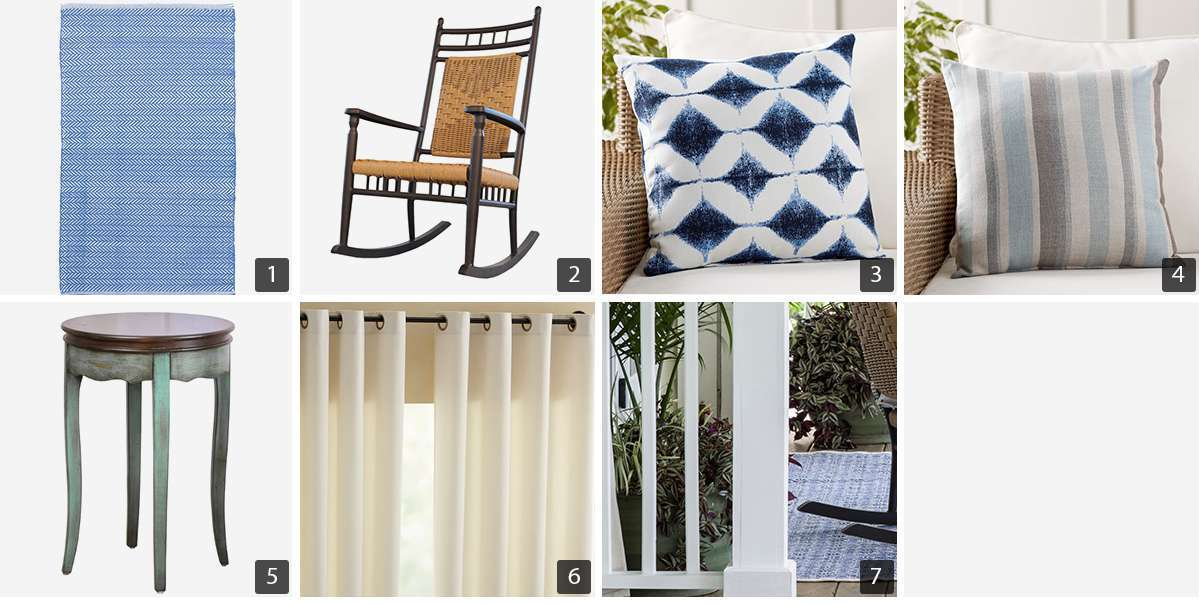 Collage of outdoor products including rug, rocking chair, and throw pillows photo
