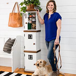 Woman standing in front of DIY shelf photo