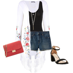 Black bodysuit styled with denim shorts, coral bag, white kimono cover-up, y-necklace, and black strappy pumps photo