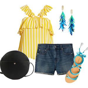 Yellow striped tank top styled with denim shorts, black round bag, turquoise drop earrings, and sandals with turquoise tie photo
