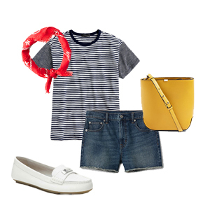 Navy and white striped t-shirt styled with denim shorts, yellow bucket bag, red bandana, and white loafers photo