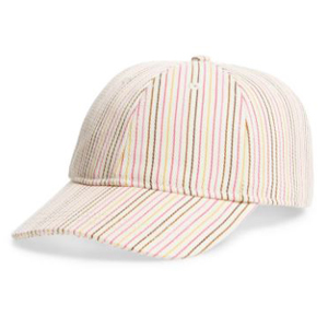 Baseball cap with thin, colorful stripes. photo