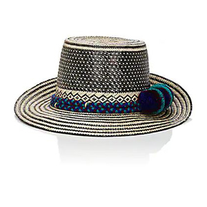 Straw hat with black stripes around the brim, blue and turquoise pattern around the base, and black polka-dot pattern at the top. photo