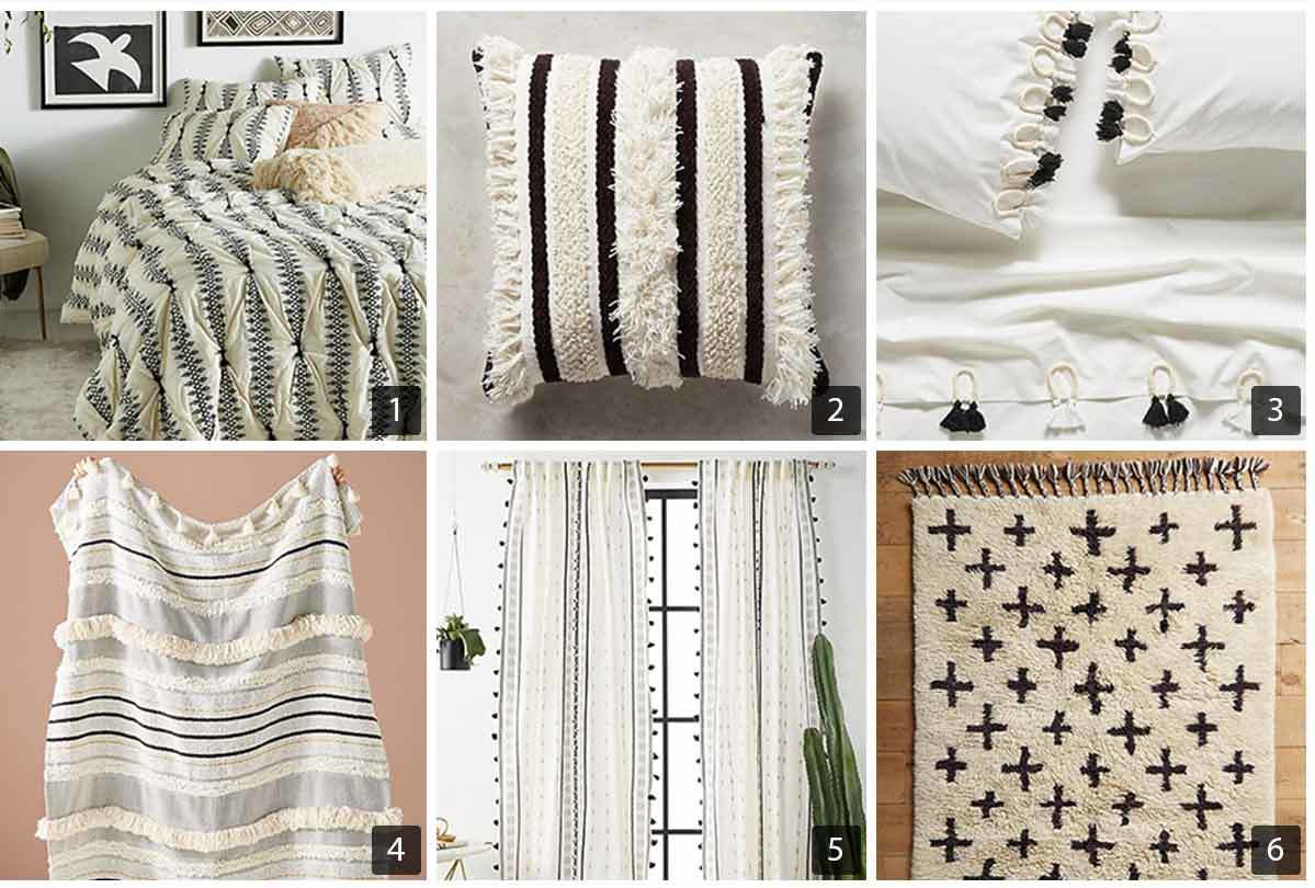 Collage of six images of black and white bedding and decor from Anthropologie's bedding collection. photo