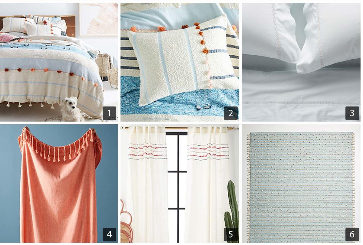Collage of six images of bedding and decor with subtle color combinations from Anthropologie's bedding collection. photo
