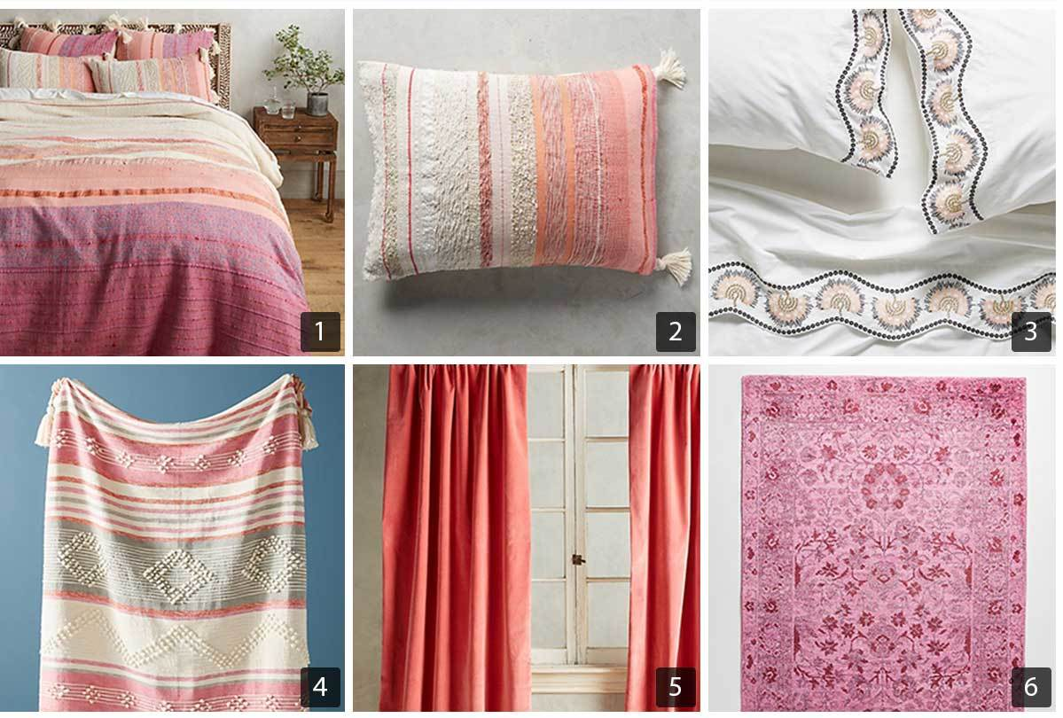 Collage of six images of bold and beautiful bedding and decor from Anthropologie's Dreamcatchers line. photo