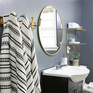 Modern bathroom with black-and-white color scheme photo