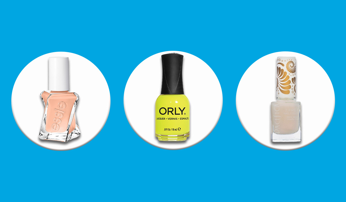 Dusty pink, bright yellow, and white Target nail polish bottles photo