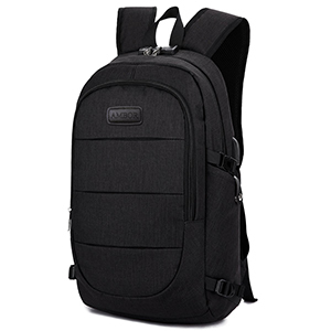 Ambor Laptop Backpack with USB Port in Black photo