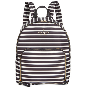 Black-and-white striped Kate Spade backpack. photo