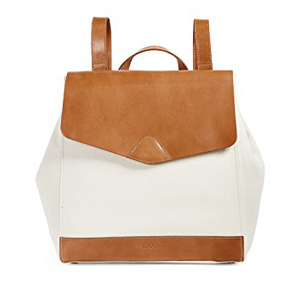 Brown-and-white leather backpack. photo