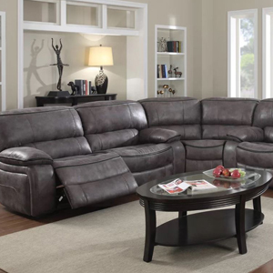 Dark faux leather reclining sectional. photo