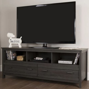 Gray oak TV stand with three shelves and two drawers. photo