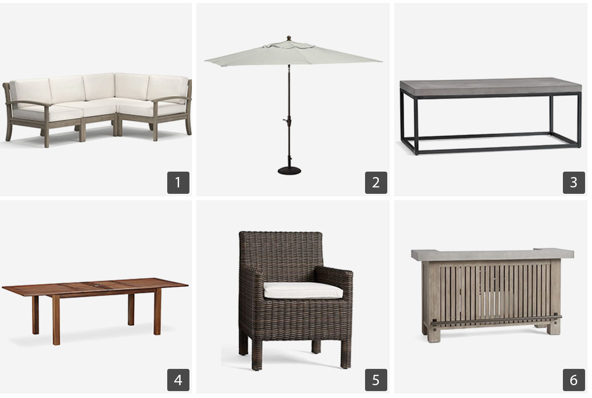 Pottery Barn outdoor oasis including a sectional, umbrella, coffee table, dining table, dining chair, and an outdoor bar. photo