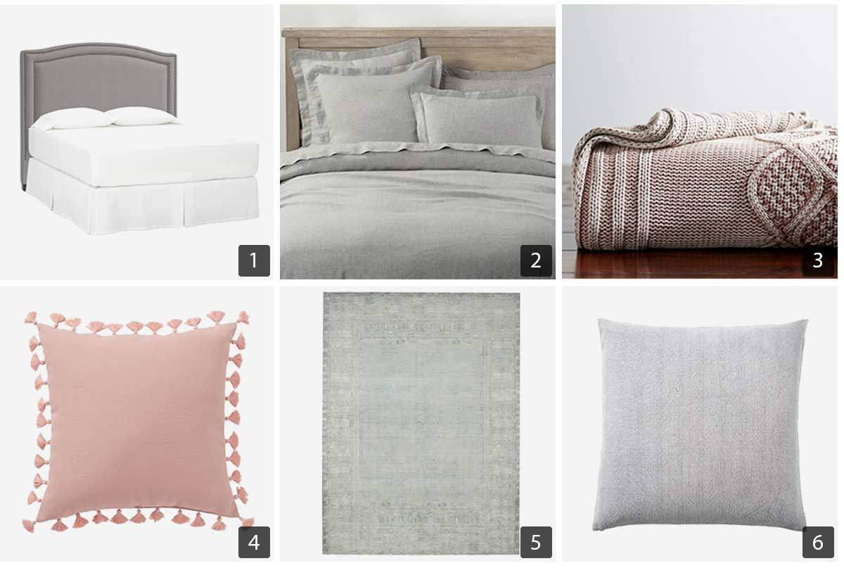 Pottery Barn Bedroom featuring a headboard, bedding, pillows, throw blanket, and a rug. photo
