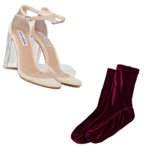 Nude and clear chunky heels with burgundy velvet socks photo