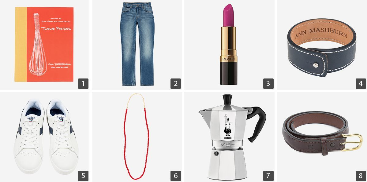 Collage of products including cookbook, jeans, and accessories photo