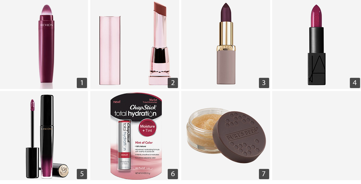 Collage of lip products including Revlon Cushion Lip Tint, Nars Audacious Lipstick in Vera, and Burt's Bees Conditioning Lip Scrub photo
