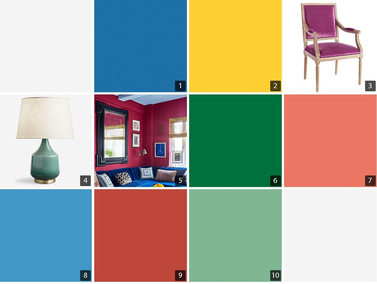 Collage of blue, green, red, and yellow paint chips, a pink velvet chair, and mint lamp photo