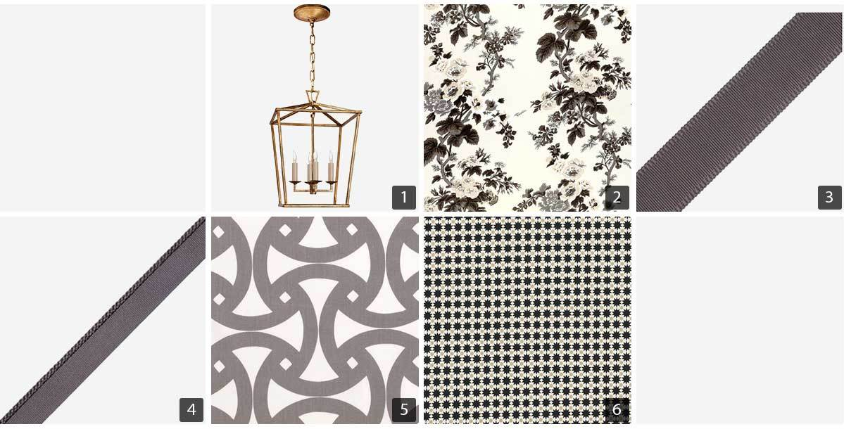 Collage of home products including a light fixture, fabrics, and trim. photo
