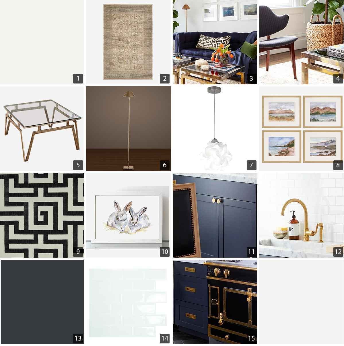 Collage of home products including rug, sofa, coffee table, light, and kitchen range photo