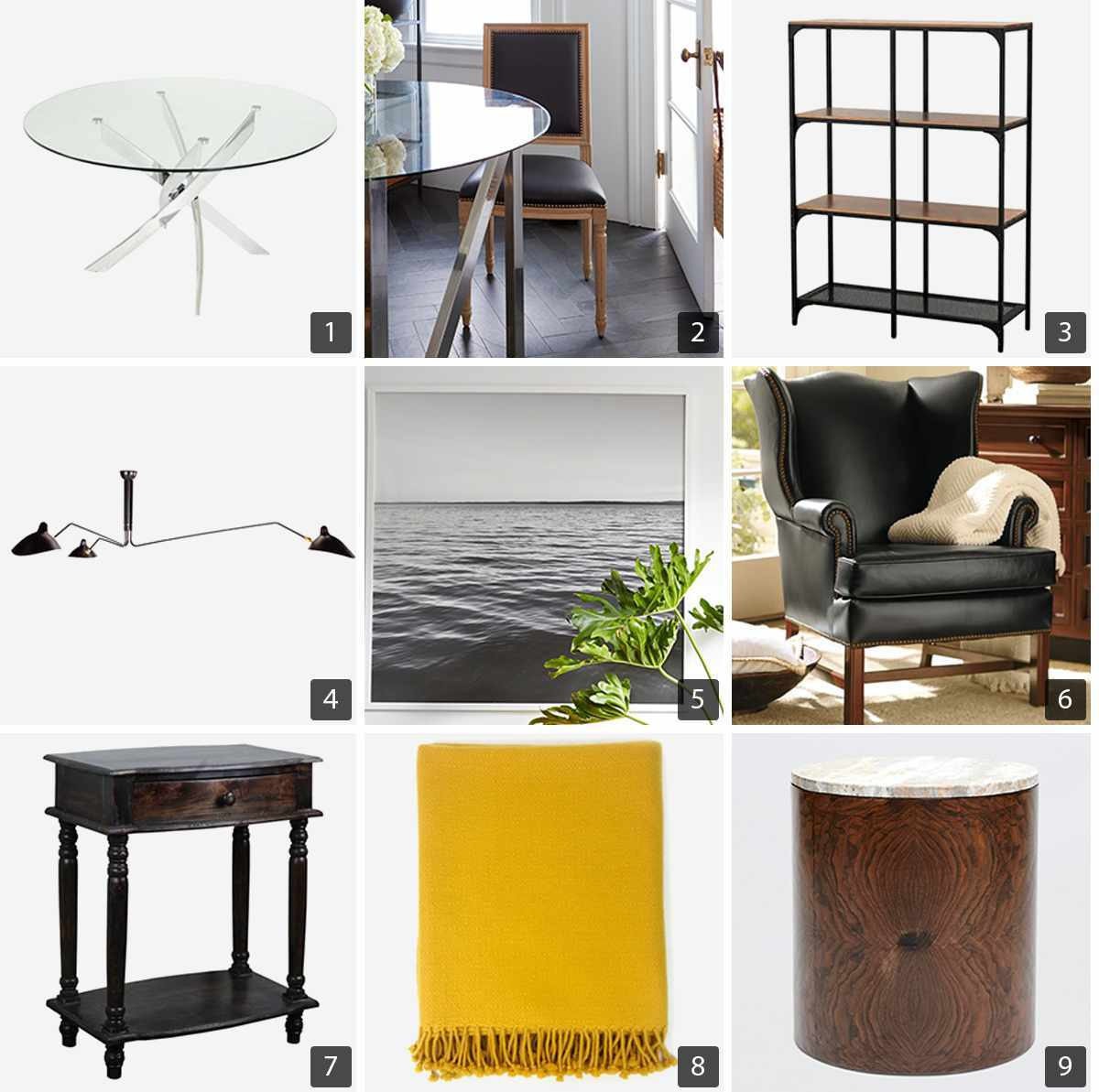 Collage of home products including glass coffee table, four-tier shelf, leather armchair, and yellow throw blanket photo
