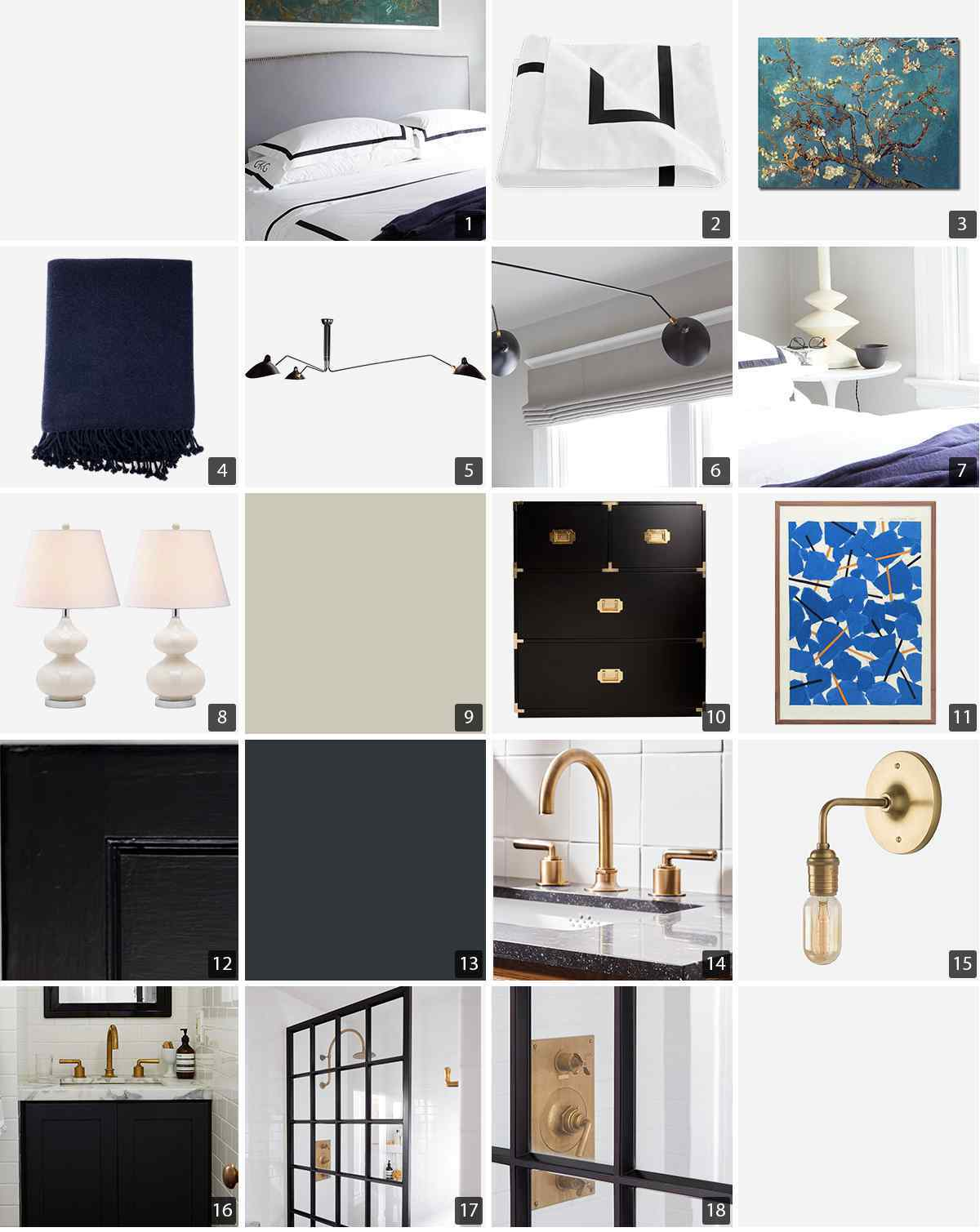 Collage of bedroom and bath products including white bedding, blue art, and gold hardware photo