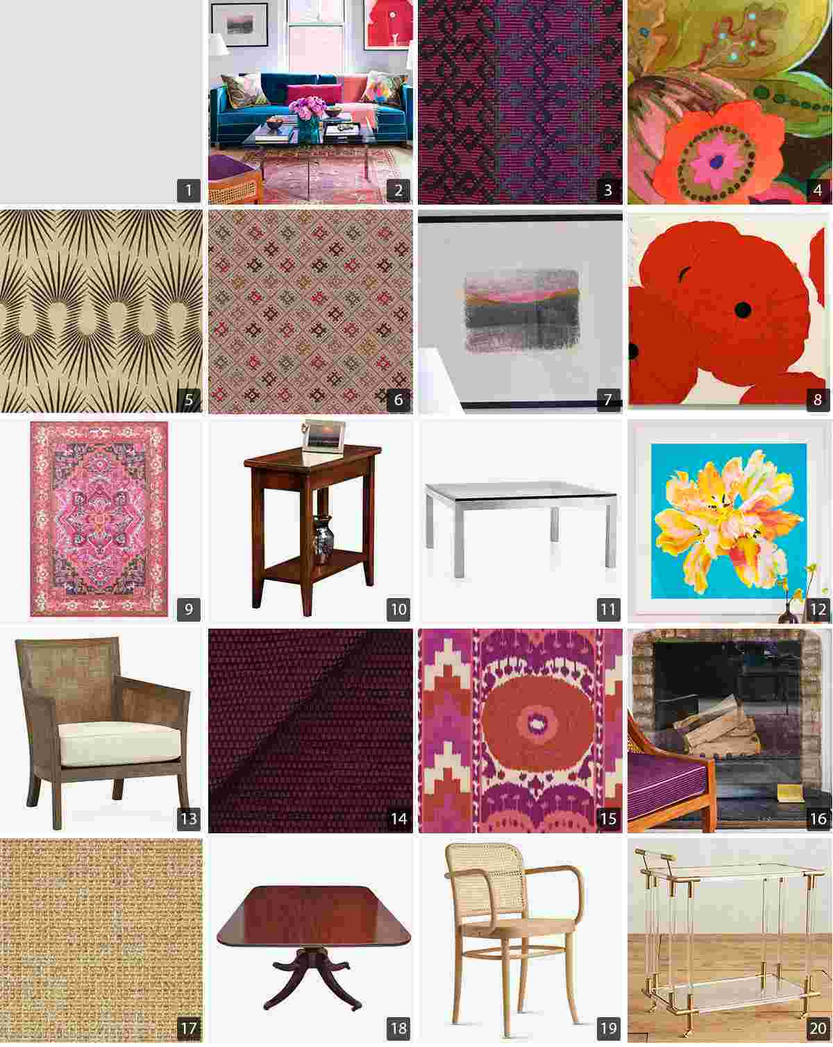 Collage of home products including colorful fabrics, accent chairs, and flower art photo