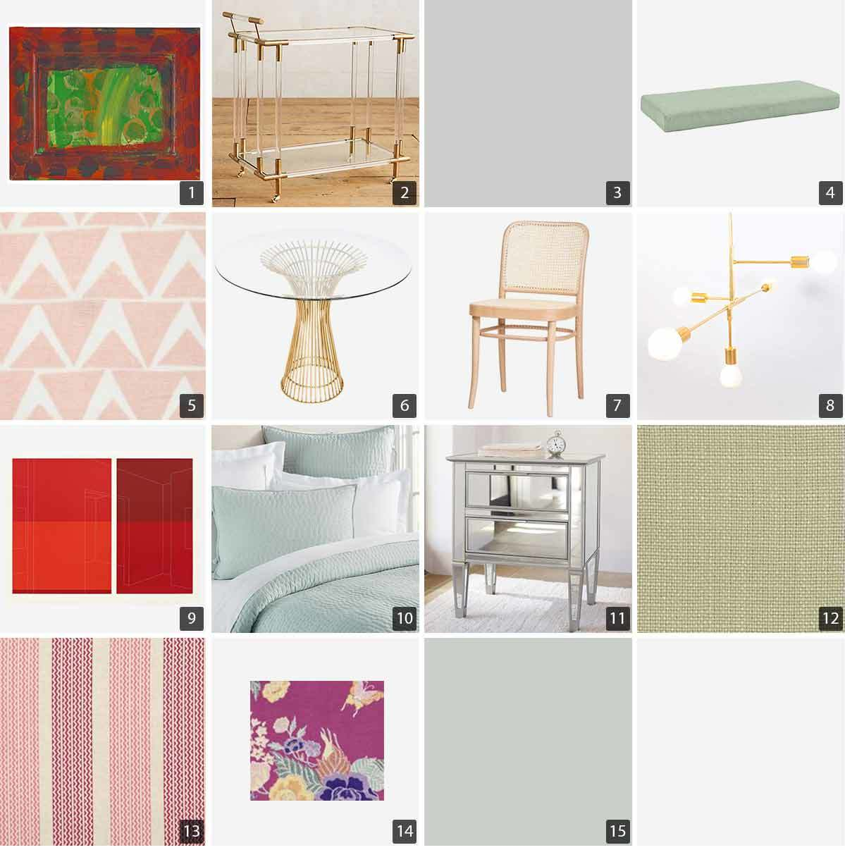 Collage of home products including artwork, decor, furniture, and paint. photo