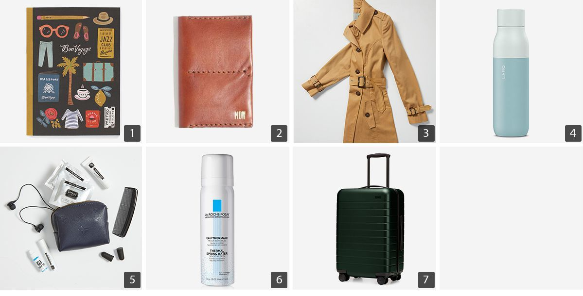 Collage of travel products including passport holder, trench coat, travel kit, and carry-on photo