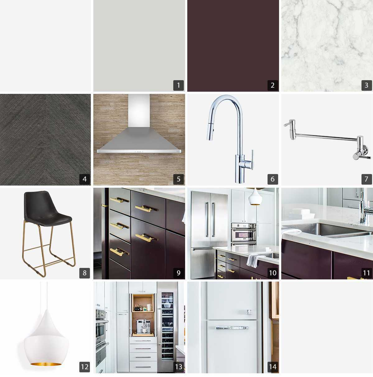 Collage of kitchen products including paint chips, hardware, and stainless steel appliances photo