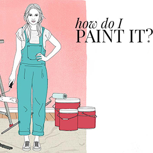 A cartoon woman with a paint brush and paint buckets. photo