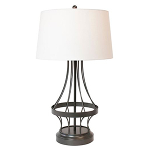 Black cordless lamp with wire frame and white lampshade photo