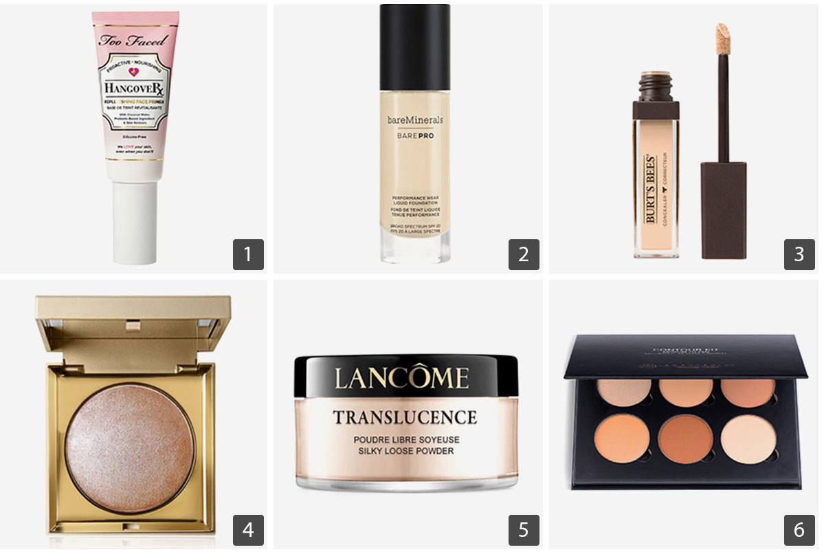 Collage of beauty products including face primer, foundation, concealer, powder, contour kit, and highlighter. photo