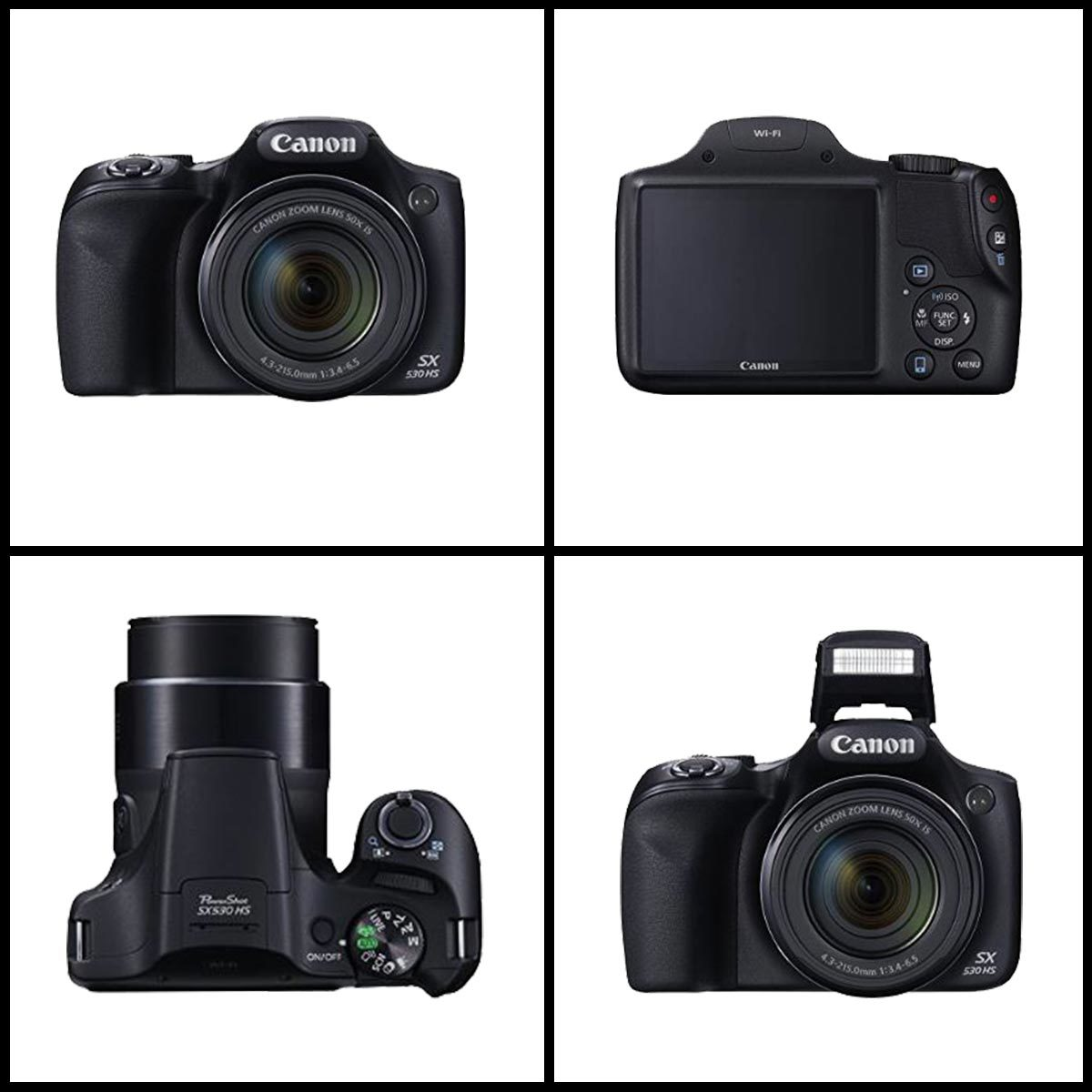A collage of the Canon Powershot digital camera at different angles. photo
