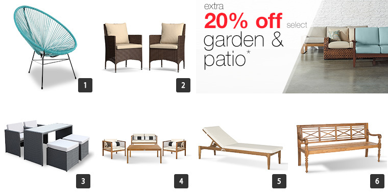 A collage of six patio furniture pieces including chairs, loungers, a bench, and conversation sets photo