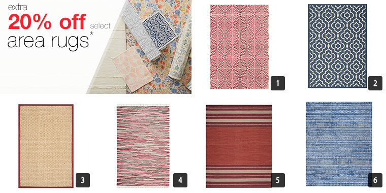 A collage of six area rugs with different prints and colors photo