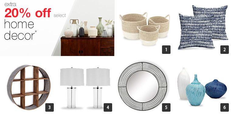 A collage of home decor including baskets, pillows, wall decor, lamps, vases, and a mirror photo