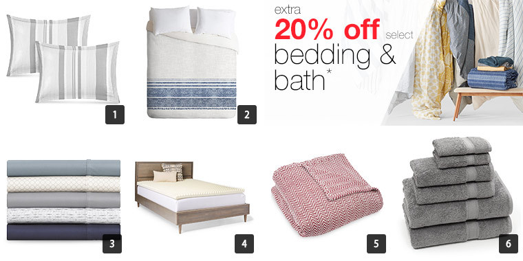 A collage of bedding including pillows, a comforter, sheets, mattress cover, throws, and towels photo