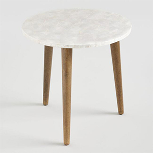 World Market accent table with wooden legs and marble top photo