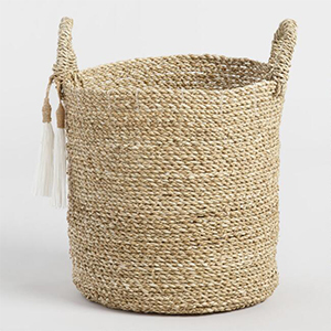 World Market woven tote basket with tassels photo