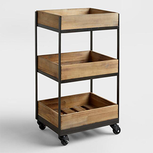 World Market rolling cart with three shelves photo