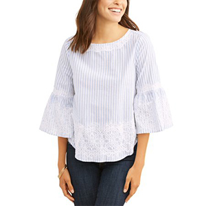 Blue and white striped bell-sleeve top with lace detailing. photo