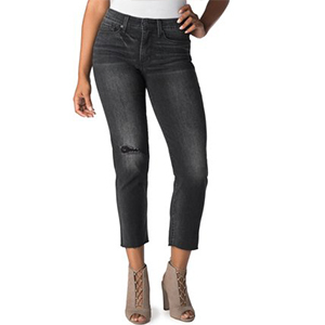Black distressed high-rise jeans that hit at the ankle. photo