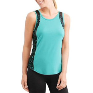 Woman wearing a blue workout tank with black speckled detail on the side. photo